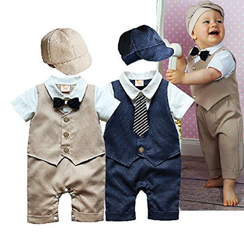 StylesILove Baby Boy Formal Wear Romper and Hat 2-piece