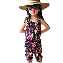 CM-CG Little Girls\' Summer New Floral Camisole Jumpsuits Playsuits 2-3Y