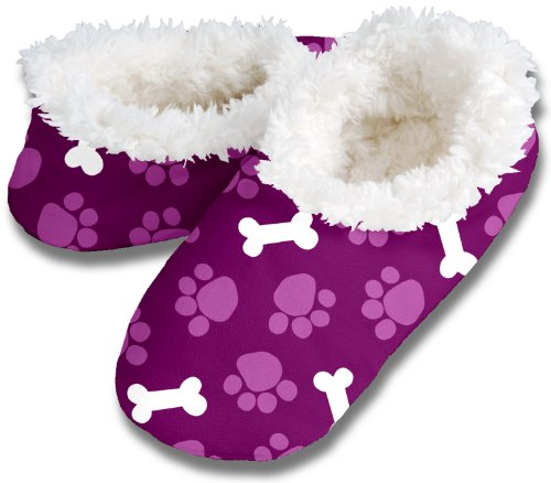 Snoozies Womens Fleece Lined Footies, Paws & Bones, Violet, Medium