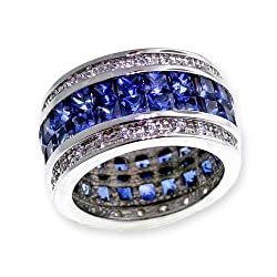 Diamond Cut Signity Stone Cubic Zirconia and Created Blue Sapphire in Sterling Silver Classic Eternity Ring