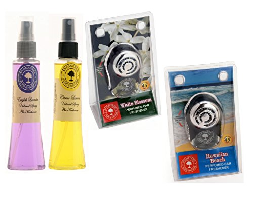 Aromatree Air Fresheners (english Lavender 75 Ml, Citrus Lemon 75 Ml, White Blossom 10 Ml, Hawaiian Beach 10 Ml) Pack Of 4 Image