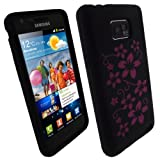iGadgitz Black & Pink Flowers Silicone Skin Case Cover for Samsung Galaxy S ....