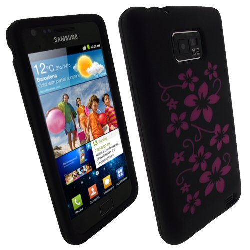Igadgitz Black & Pink Flowers Silicone Skin Case Cover For Samsung Galaxy S 2 Android Smartphone Cell Phone + Screen Protector. Suitable For At & T Model Only (Model Number Sgh-I777)