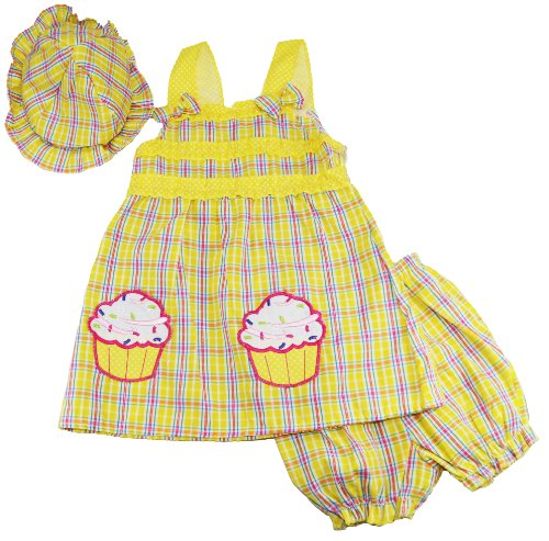 Coney Island Baby Girls Cupcake Dress With Hat And Diaper Cover Set front-56734