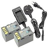 DSTE® 2pcs BN-VF823 Replacement Li-ion Battery + Charger DC36U for JVC BN-VF823, BN-VF823U and JVC Everio GS-TD1, GY-HM70U, GY-HM100U, GY-HM150U, GZ-HMZ1U, GZ-MG230, GZ-MG255, GZ-MG275, GZ-MG330, GZ-MG335 etc....