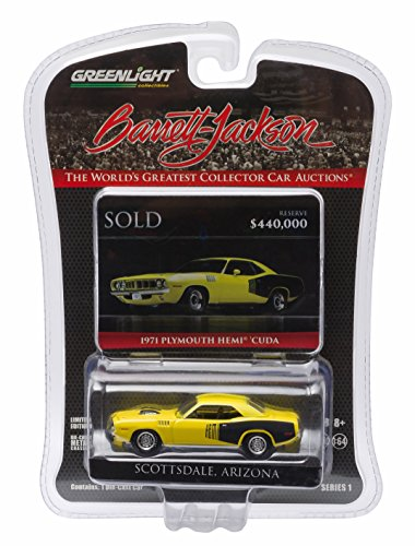1971 PLYMOUTH HEMI 'CUDA (Curious Yellow) * Scottsdale Edition * Barrett-Jackson Series 1 Greenlight Collectibles 2016 Limited Edition 1:64 Scale Die-Cast Vehicle