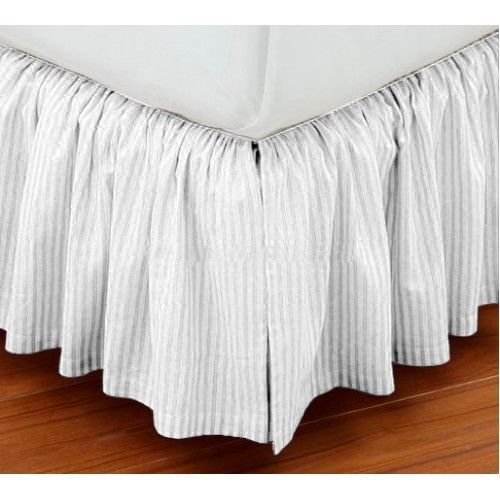 Vedanta Home Collection Hotel Quality 800-Thread-Count Egyptian Cotton Full-XL Size One Piece Dust Ruffel Bed Skirt With Free Two Pillow Cases 20'' Inch Drop Length White Striped