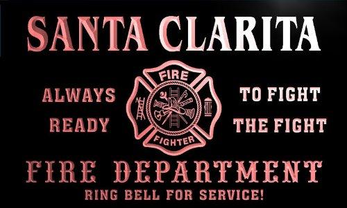 qy2182-r Santa Clarita Fire Fighter Department Firemen Bar Neon Light Sign