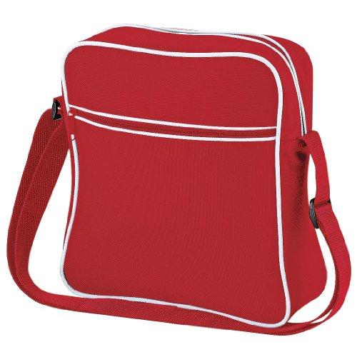 Bagbase - Borsa da viaggio stile retrò - 7 Litri (Taglia unica) (Rosso/Bianco)