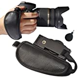 First2savvv OSH0501 Professional Wrist Grip black genuine leather hand Strap for Canon EOS 550D with UV lens filter protection bag case