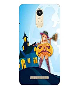 PrintDhaba Girl with Broom D-3288 Back Case Cover for XIAOMI REDMI NOTE 3 MEDIATEK (Multi-Coloured)