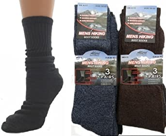 12 Prs Men's Hiking Boot Socks with Cushion Sole Size 6-11