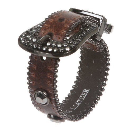 Western Hematite Rhinestone Studded Metal Ball Chain Leather Cuff Bracelet Color: Brown