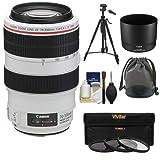 Canon EF 70-300mm f/4-5.6 L is USM Zoom Lens + 3 UV/ND8/CPL Filters + Tripod Kit for EOS 6D, 70D, 5D Mark II III, Rebel T3, T3i, T4i, T5, T5i, SL1 DSLR Cameras (Color: Black)