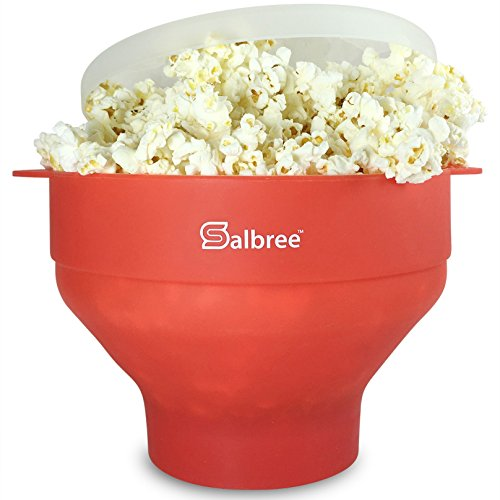 Salbree Microwave Popcorn Popper, Silicone Popcorn Maker, Collapsible Bowl Red
