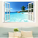 Gotomre Large Removable Beach Sea 3D Window View Scenery Wall Sticker Decor Decals
