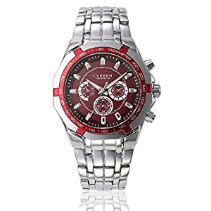 GOHUOS Men's Sport Outdoors Quartz Analog Stainless Steel Band Dress Wrist Watch Red