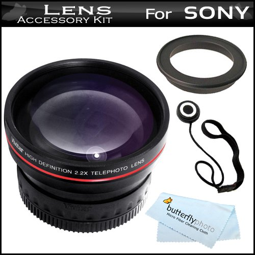 Vivitar 2X High Definition 37Mm Telephoto Converter Lens Includes Pouch For Lens + Lens Cap Keeper + Microfiber Cloth For Sony Hdr-Cx130, Hdr-Cx160, Hdr-Cx360V, Hdr-Cx560V, Hdr-Cx700V, Hdr-Xr160 High Definition Handycam Camcorder