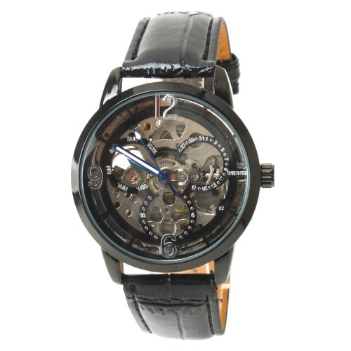 Yesurprise New Luxury Fashion Men Hollow Skeleton Leather Band Mechanical Unisex Wrist Watch Trendy 2013 Father's Day Gift #2