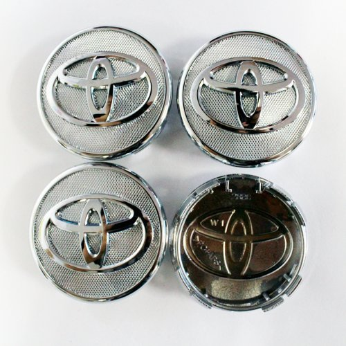 HAMMER Toyota 57mm Silver Frosted Wheel Center Hub Caps 4-pc Set Special Offer (Center Cap For Rims 15 compare prices)