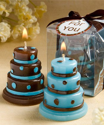 Pack of 10 Cake candles blue/brown in clear PVC box