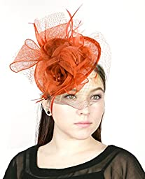 NYfashion101(TM) Cocktail Fashion Sinamay Fascinator Hat Flower Design & Net S102651-Orange