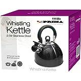 PRIMA 2.5 Litre Whistling Kettle, Metallic Black