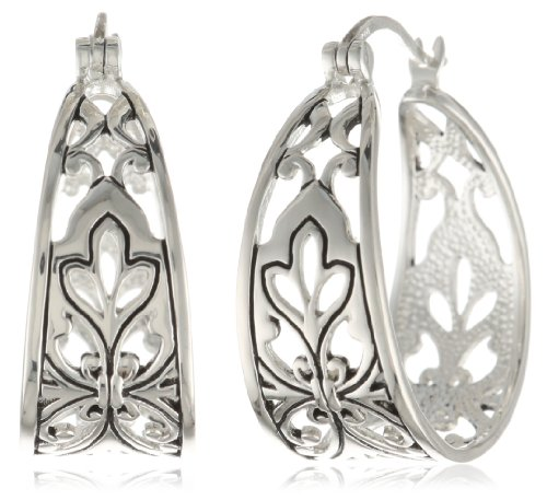 Sterling Silver Bali Inspired Filigree Triangle Shape Hoop Earrings (1.0