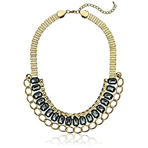 3 Row Mesh Stud Link Shiny Gold Grey Necklace, 16