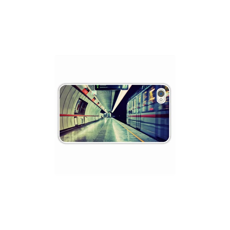 Custom Made Cell Phone Cases For Iphone 4 4S City Subway Underground Train Bus Stop Of Romantic Present White Cell Phone Skin For Girl