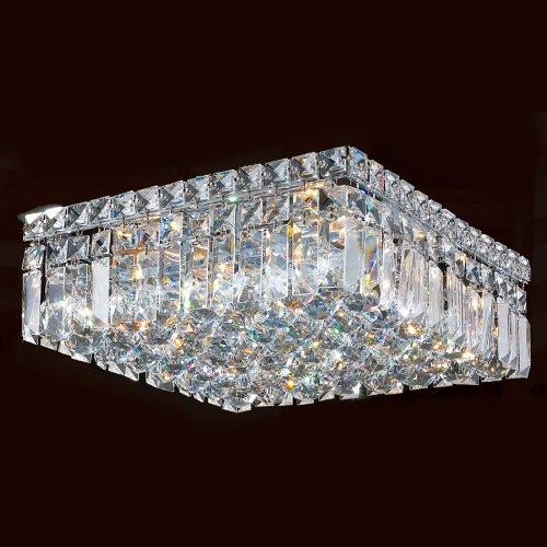 Worldwide Lighting W33517C14 Cascade 5 Light With Clear Crystal Ceiling Light, Chrome Finish