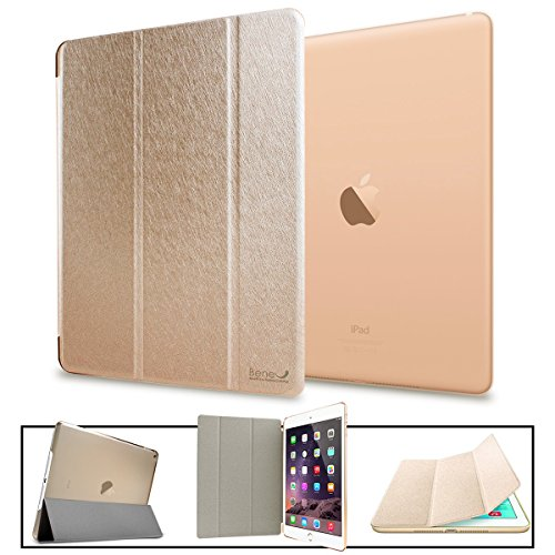 BeneU Slim Lightweight Leather Folio Magnetic Smart Case Cover Stand with Back Case For Apple iPad Air (iPad 5 th Generation, 2013 release) - Champagne Gold
