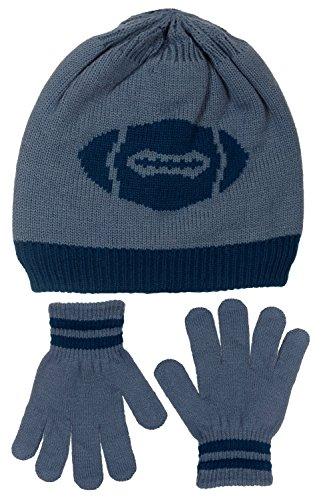 [Polar Wear Boy's Football Knit Beanie & Gloves Set (Gray-Navy Blue)] (Infant Racing Halloween Costume)