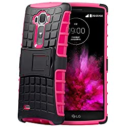Fosmon [RUGGED] LG G Flex 2 Case - HYBO-RAGGED Heavy Duty Hybrid Protective Cover with Kickstand (Hot Pink)