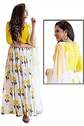 Kesu Fashion Women's Printed Un-stitched Lehenga Choli With Dupatta In Banglori Silk Fabric (KUPJBB1002) Yellow