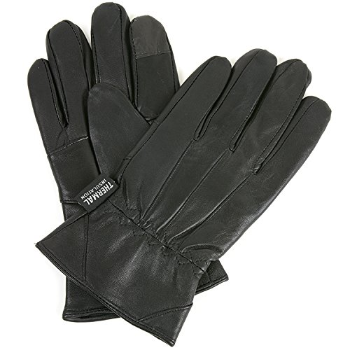 Mens Leather Smartphone Dress Gloves for Touch Screen iPhone Android Tablet, Large, Black (Insulated Touch Screen Gloves compare prices)
