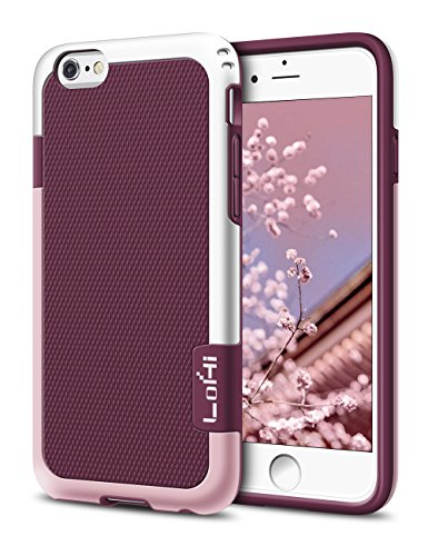 iPhone 6 Case, LoHi Hybrid Impact 3 Color TPU Shockproof Rugged Case [Extra Front Raised Lip] Back Strips Anti-slip [Protective Buffer] Dual Protection Cover Case for iPhone 6/6s 4.7 Inch (Wine Red)