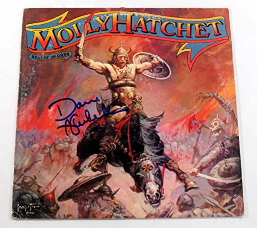dave-hlubek-signed-lp-record-album-molly-hatchet-beatin-the-odds-w-auto