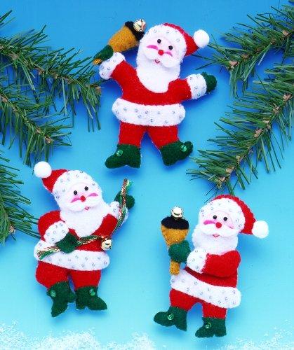 Felt Ornaments, Jingle Bell Santa, Set of 3 - 1