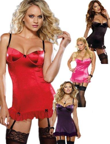 Yummy Bee Satin Babydoll Strumpfhalter + Spitzenstrümpfe Plus Size 38-56 Sexy Sexy Dessous Schwarz Rot Rosa Violett