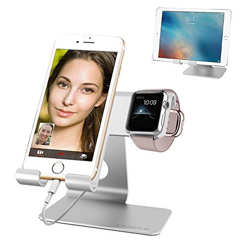 スマートフォンスタンド デスクトップ タブレット 携帯電話 充電スタンド アルミニウム合金 iPhone iPad iPod iwatch Galaxy Nexus Kindle等タブレットに適用 Apple watchケース付きsilver (42mm)