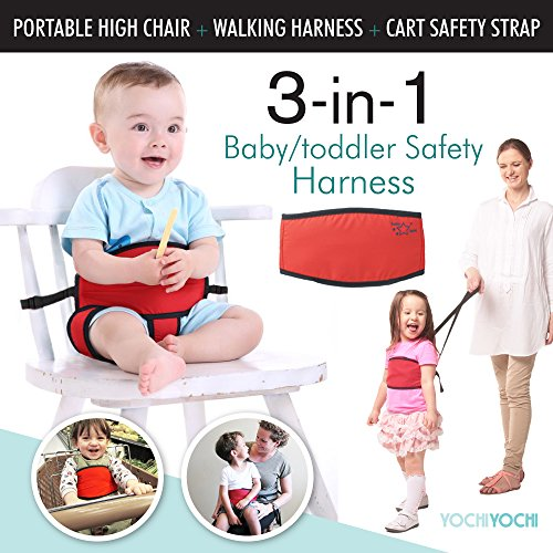 Travel High Chair + Portable High Chair + Toddler Safety Harness + Shopping Cart Safety Strap. Winner of 3 AWARDS! Mom's Choice, Preferred Choice & Family Choice! Space-Saver High Chair-Great for Travel/Home-Black (Highchair Insert Pad compare prices)