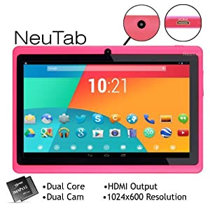 NeuTab N7 Pink 7'' Dual Core Google Android 4.1 Jelly Bean Tablet PC, 1024X600 HD, Dual Camera, Google Play Pre-loaded, 3D-Game Supported