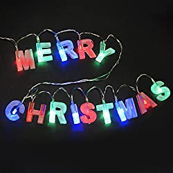 "BRIGHT ZEAL Multicolor Letter-Shaped ""MERRY CHRISTMAS"" LED String with Switch - Christmas Decorations Home Decor - Christmas Signs Party Supplies (3 Colors, Gift Set) 30210"