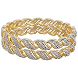 Lucky Jewellery Gold Brass Bangles for Women (Size : 2-6)
