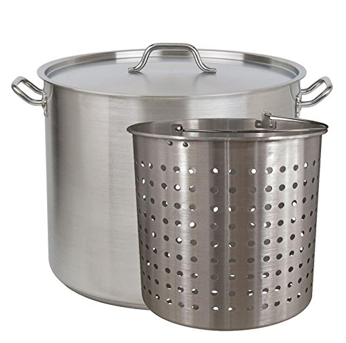 Tiger Chef Heavy-Duty Stainless Steel Stock Pot with Cover and Aluminum Steamer Basket (80 Quart)