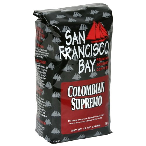 San Franscisco Bay Coffee Columbian Supremo Whole Bean, 12-Ounce (Pack of 3)