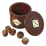 Dados artesanales y sistema de la caja taza - juguetes de madera hechos a mano y juegos para familias - dados establecen con la taza de 6,35 x 7,62 x 7,62 cm