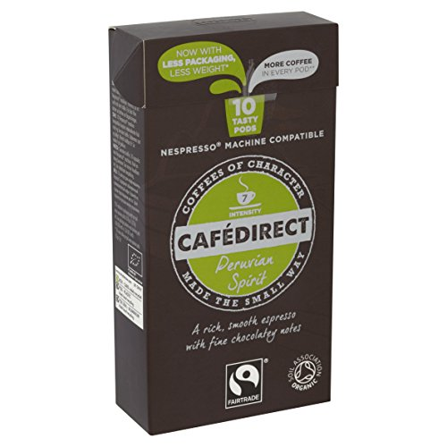 Cafédirect Organic Fairtrade Nespresso Compatible Coffee Capsules Machu Picchu (Pack of 5, Total 50)