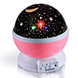WEDNA Galaxy Night Light Projector Lamp Star Moon Sky Projector (3 Model Light, DC5V / Battery Powered) Romantic Home Decoration Lamp Great Gift for Children Baby (Pink)